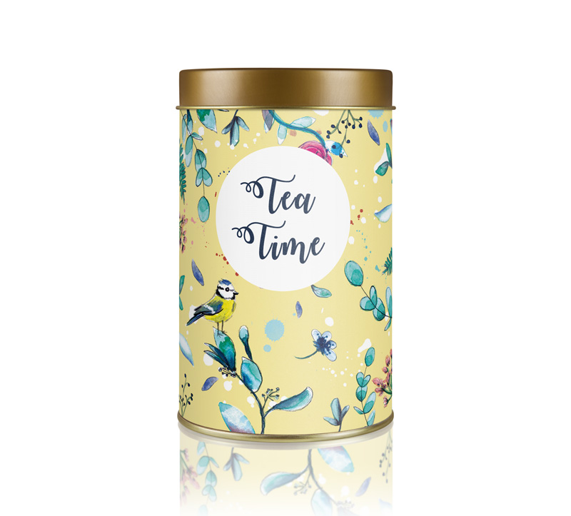 motif boite à thé floral oiseau