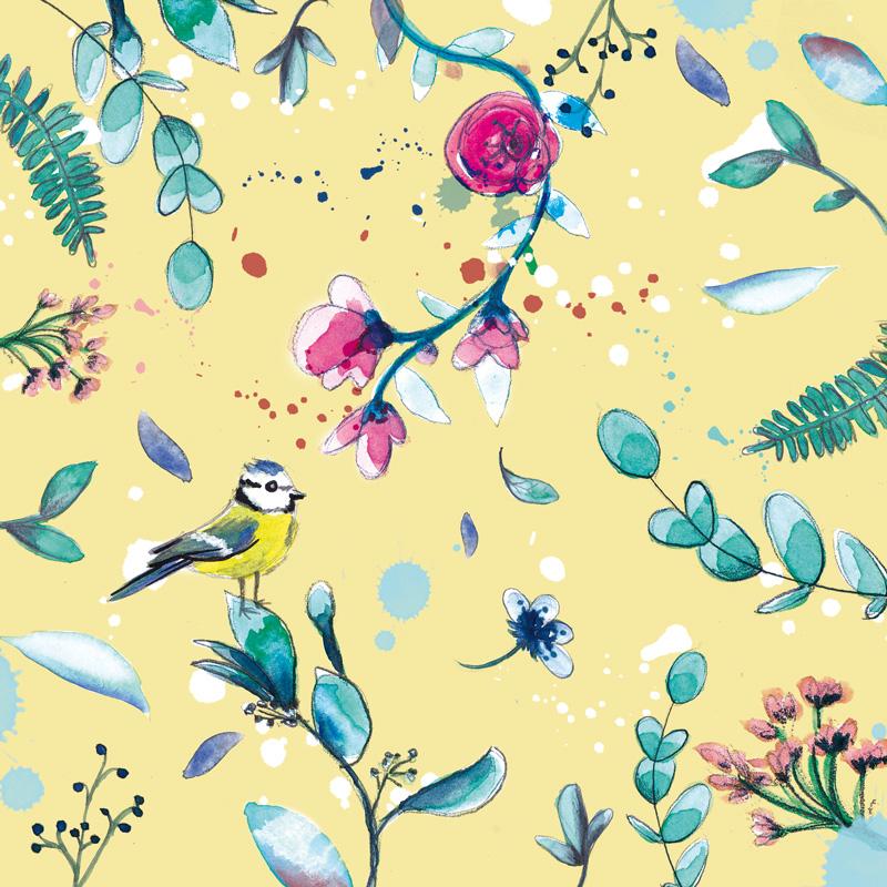 motif végétal jaune oiseau