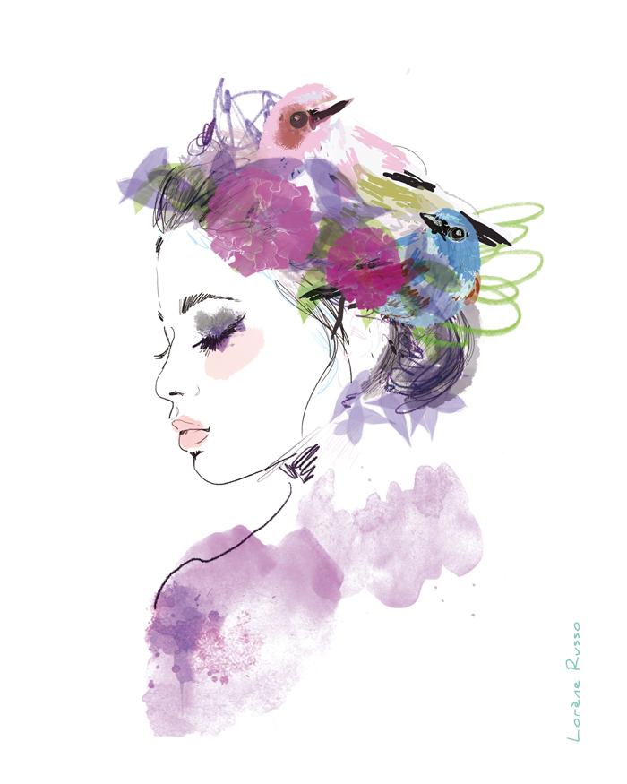 femme-champêtre oiseaux aquarelle