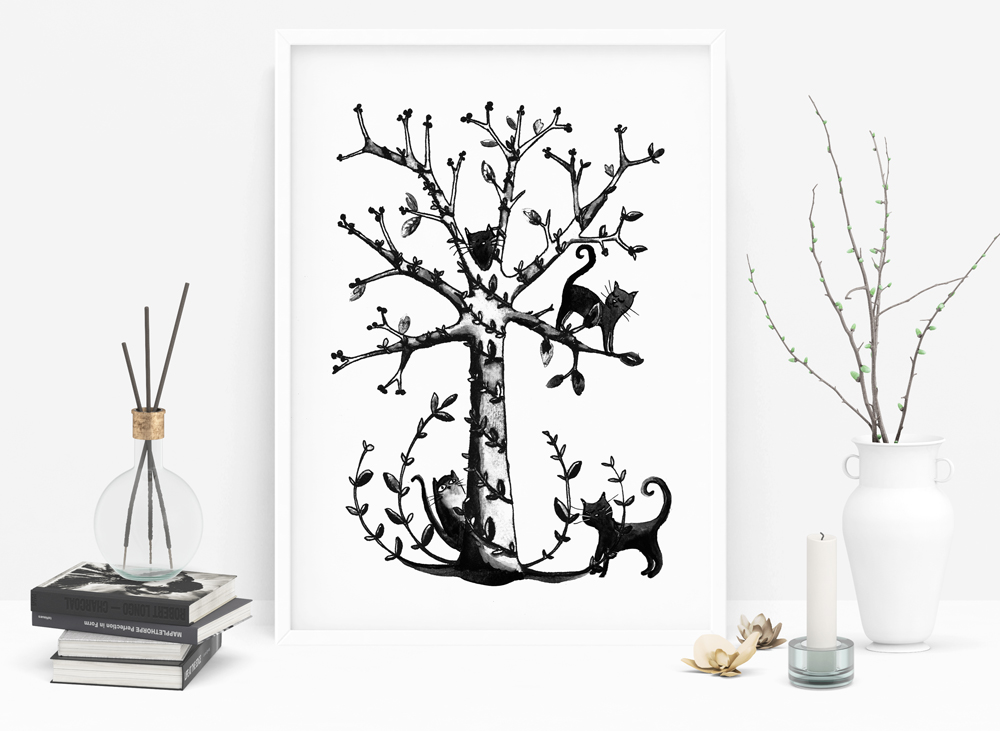affiche-chats-dans-l'arbre-black-and-white