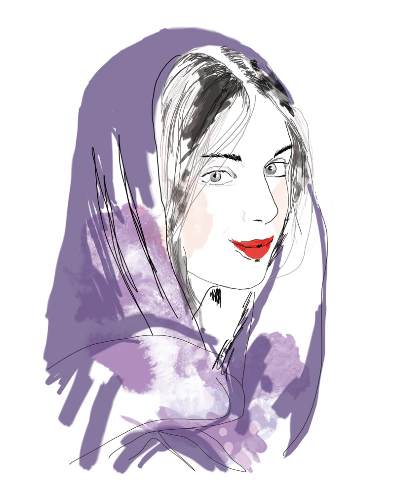 illustration femme voile rouge à levre rouge