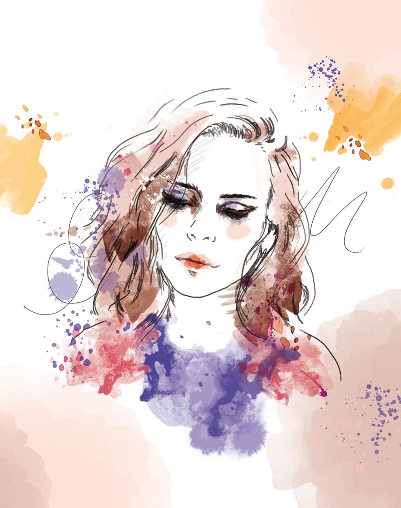 portrait de femme tache aquarelle
