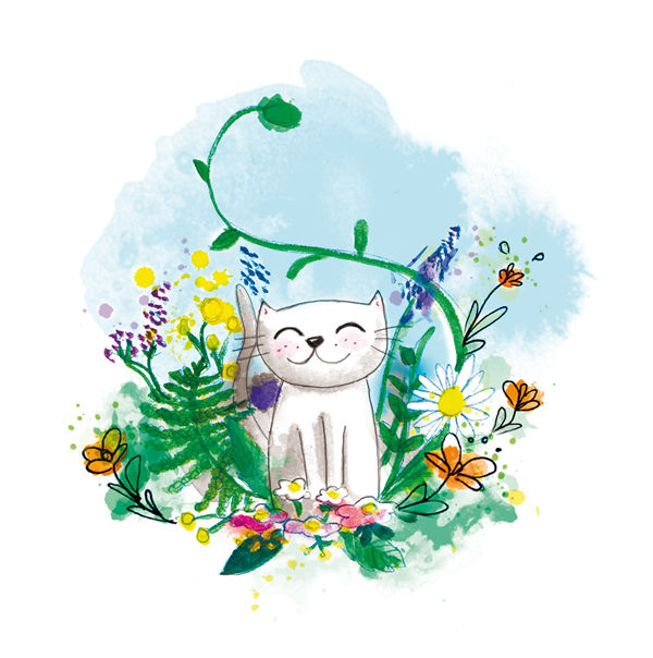 chat blanc nature aquarelle