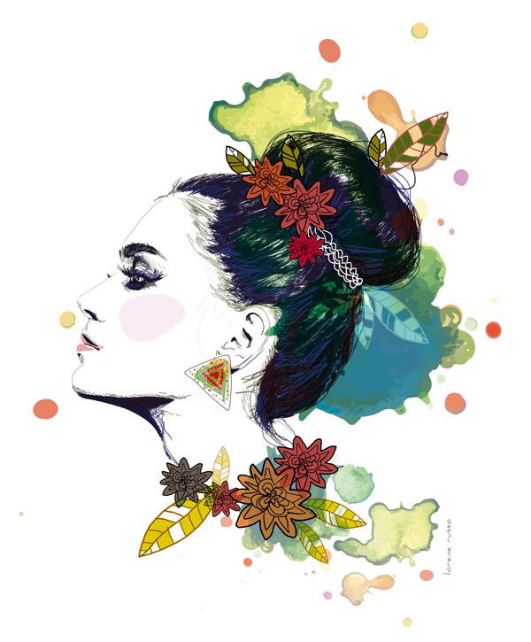 portrait graphique chignon mode beauté de profil