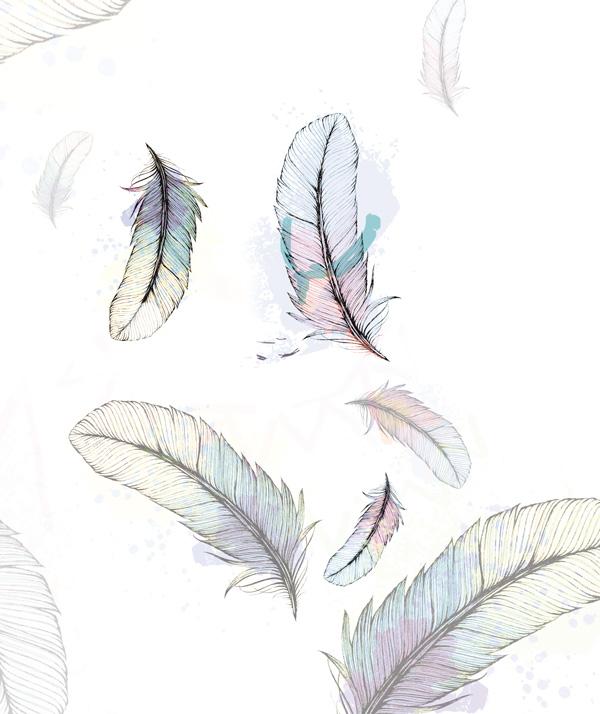 création dessin motif plumes