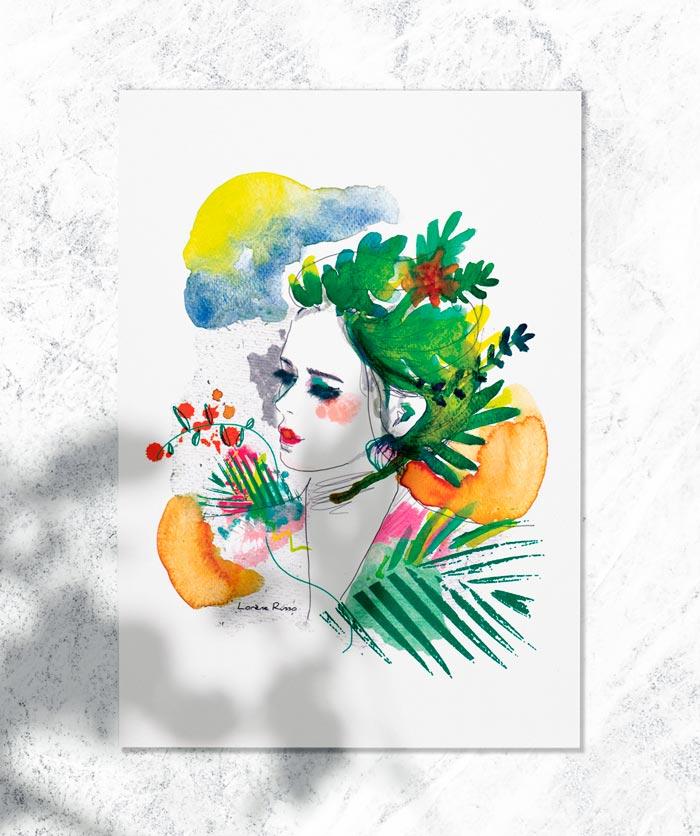 poster affiche portrait femme vegetal exotique