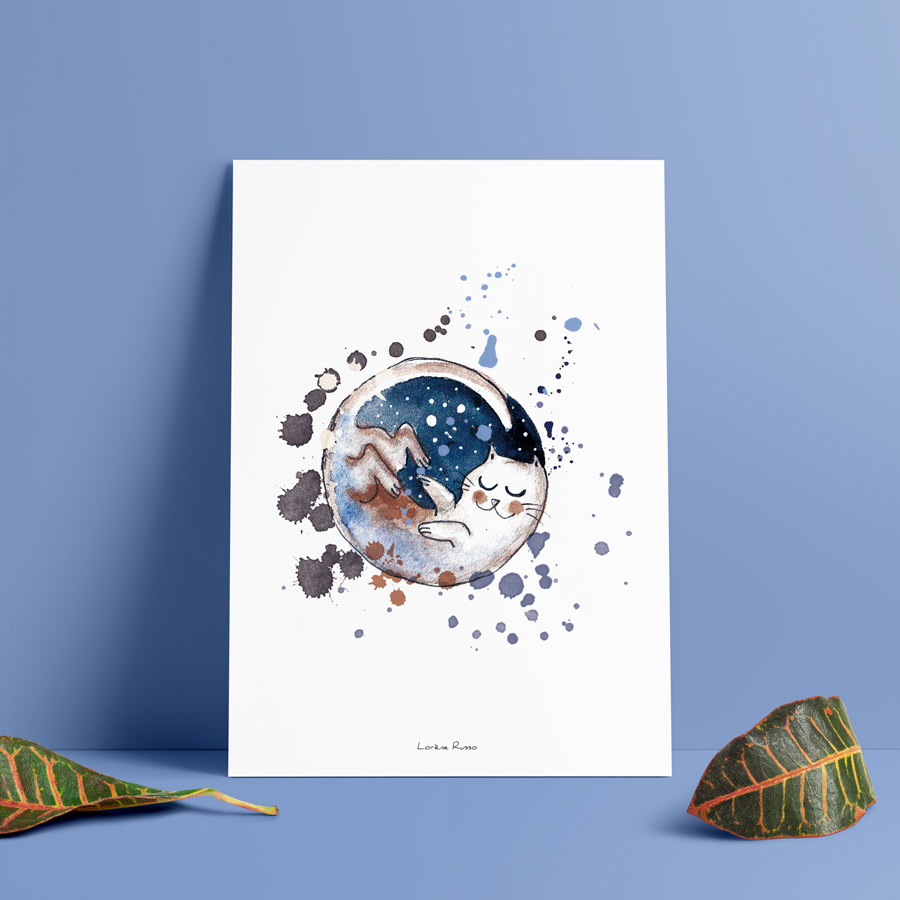 poster aquarelle chat lune