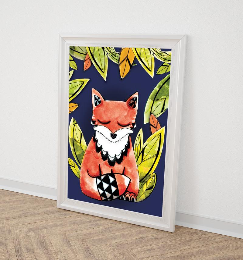 renard fond bleu affiche illustrée