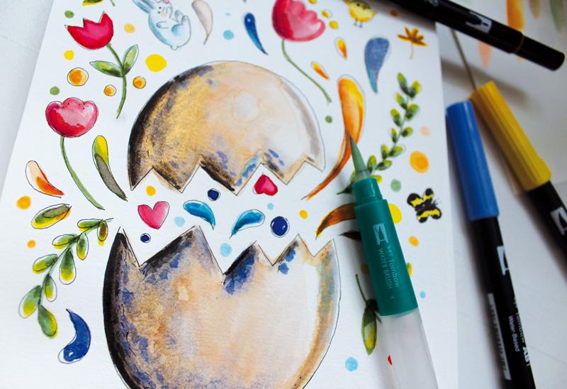 aquarelle  brushpen tombow