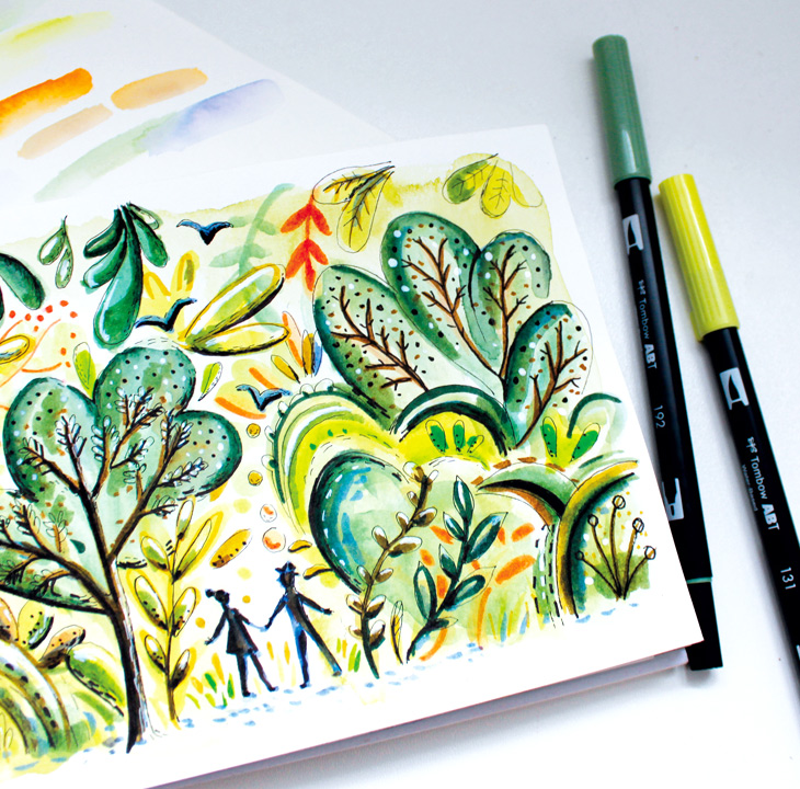 illustration nature feutres tombow