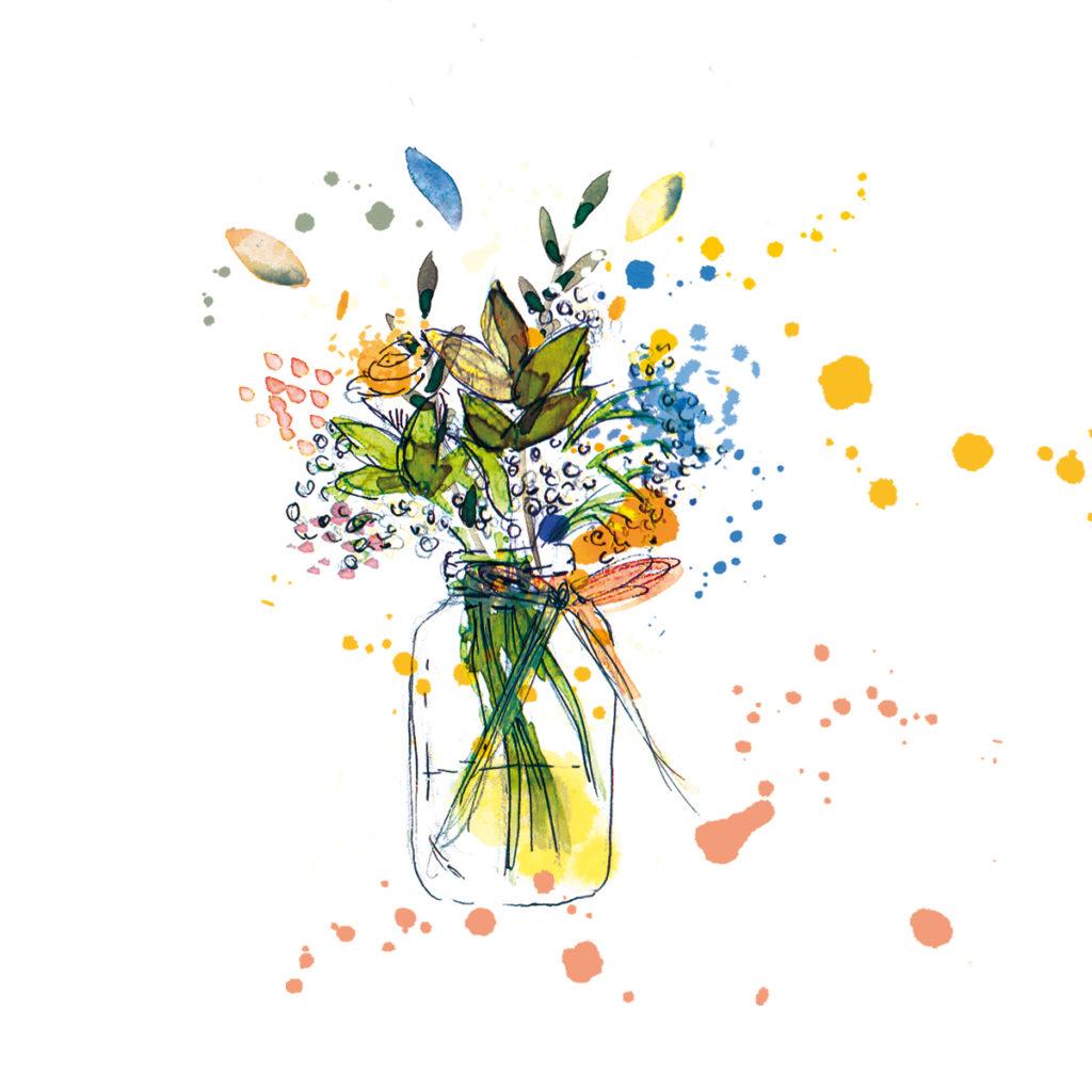 illustration bouquet de fleur aquarelle