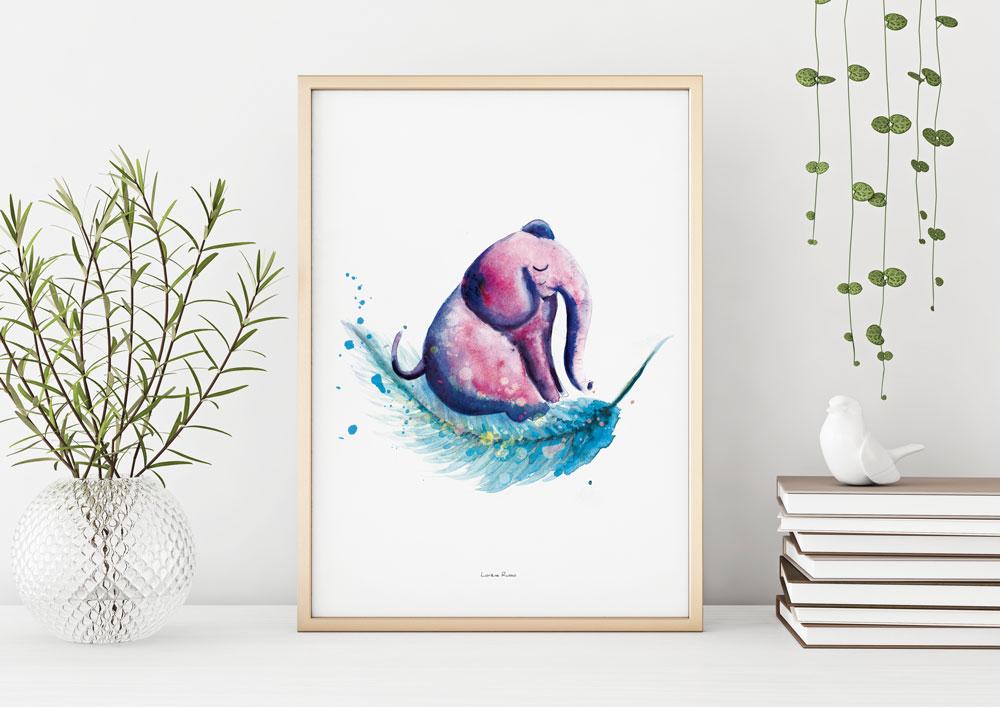 Affiche decorative chambre enfant elephant