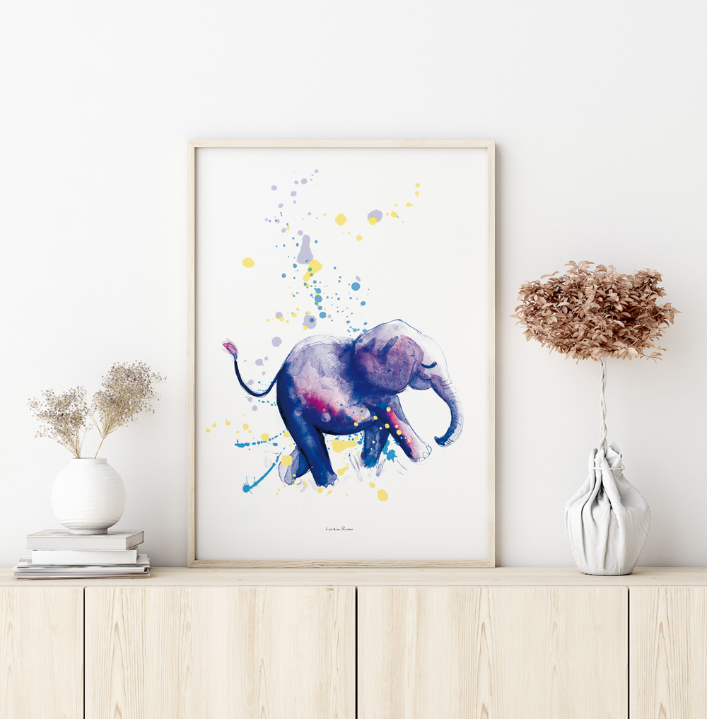Affiche decoration chambre bebe elephant illustration