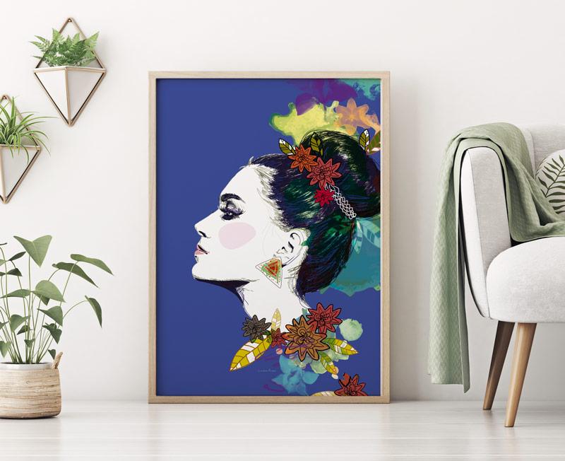 affiche decorative profil ethnique