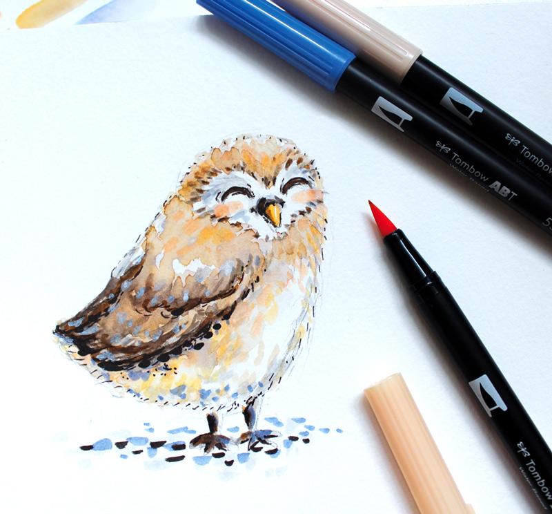 illustration petite chouette au feutre aquarelle tombow