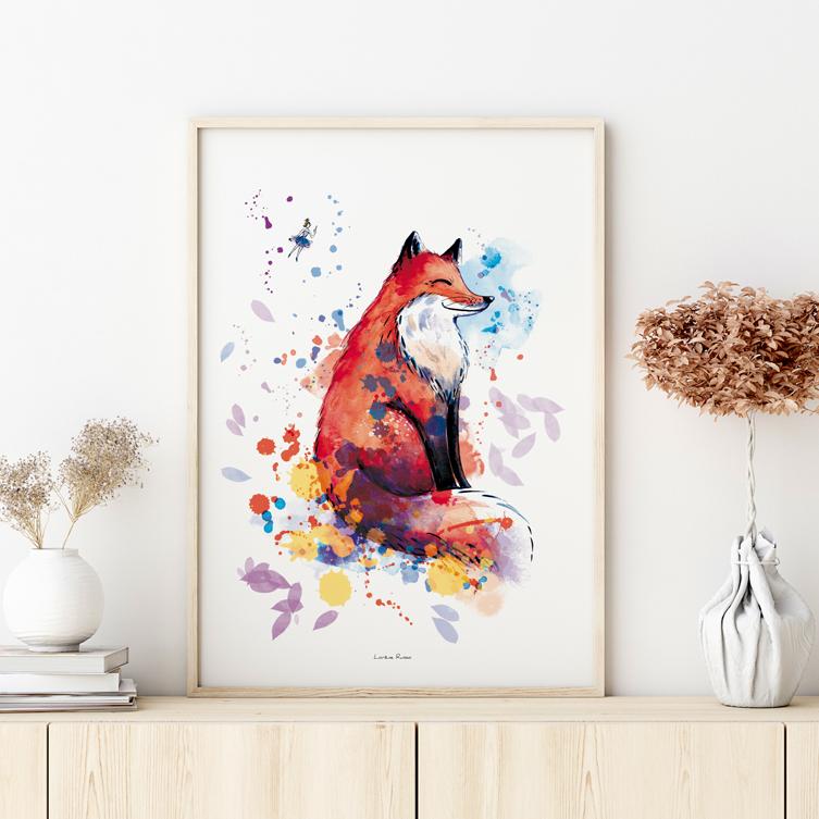 affiche illustrée sur-mesure renard