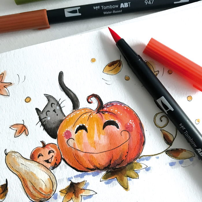 illustration aquarelle citrouille halloween